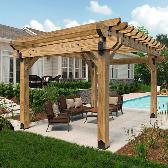 OZCO OWT-lite on a concreate patio with a wood pergola