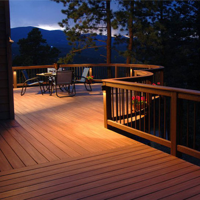 Highpoint Berkey Railing Light on a deck with a mountain view