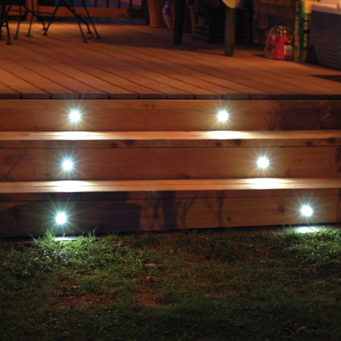 deck step lights installed during the evening