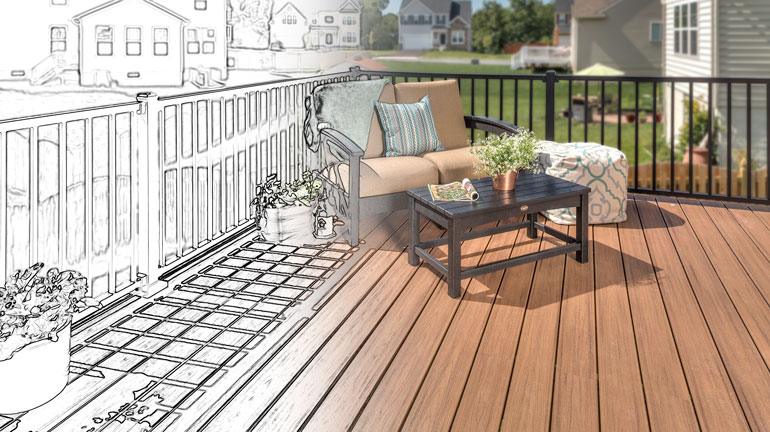 a drawing of a deck becomes real.