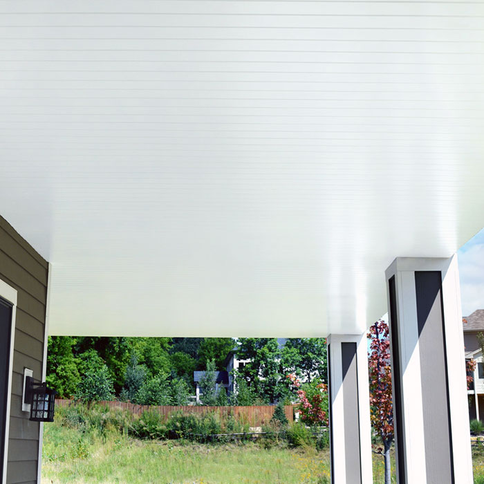 a view of the underside of a deck finished with UpSide deck ceiling