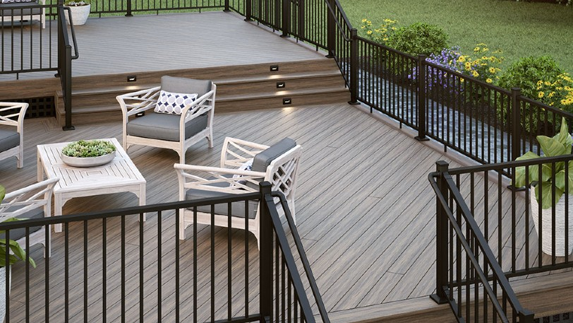 Showcase your gorgeous Deckorators, Trex, DuraLife, or Fiberon composite deck boards by installing your upgraded decking at a 45 degree angle for a unique deck design