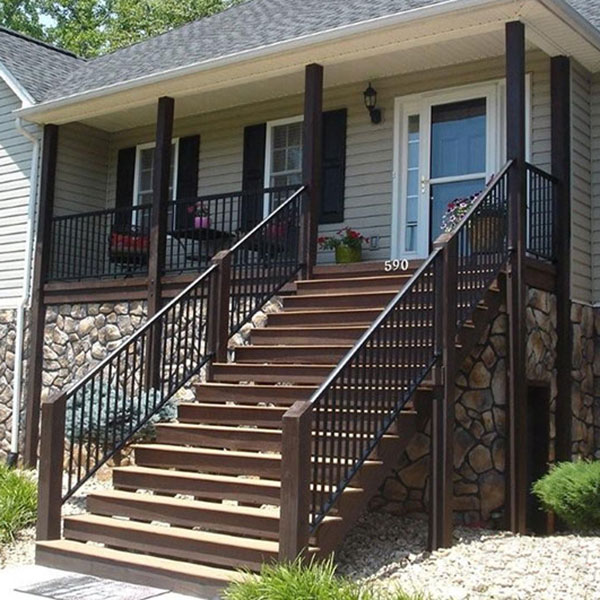 Afco Aluminum Stair Railing In Textured Black With Custom Wood Posts And  Columns.