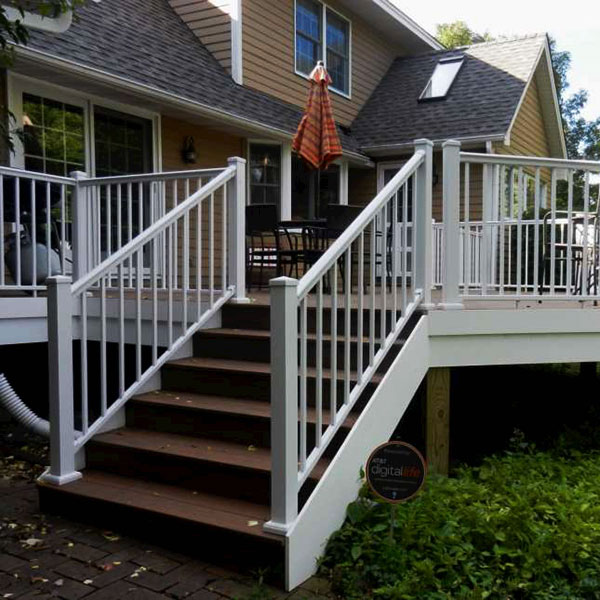 Beautiful Afco Aluminum Railing In Textured White With Post To Post Aluminum Posts.
