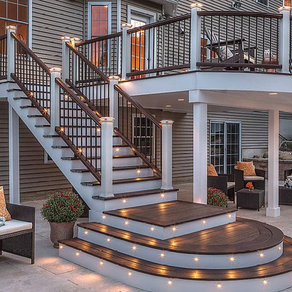 Trex Transcend Composite Stair Railing System With Individual Top Rail And  Individal Bottom Rail. Features LED Flat Post Cap Light And Transcend  Adjustable ...