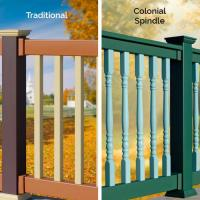 Illusions Vinyl Railing Baluster Options: Traditional Square Balusters or Colonial Spindle Balusters