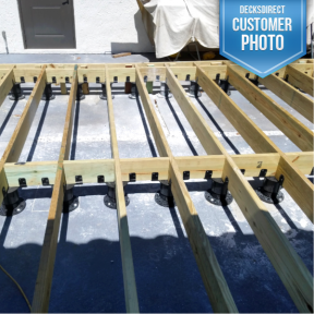 Versadjust Adjustable Deck Supports with Joist Top Accessory By Bison.