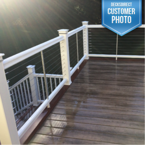 Feeney CableRail standard assemblies installed with composite railing.