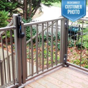 Westbury Tuscany Series Aluminum Railing. Features Adjustable Gate Kit