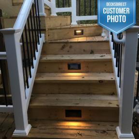 Aurora Pyxis Recessed Louvered LED Riser Light in bronze on cedar steps