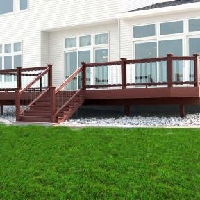 This photo features a Fortress Pure View Glass Railing System with Pure View Glass Balusters.