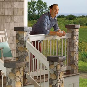 Deckorators Aluminum  Railing in White, Round Aluminum Balusters, and Duo Connectors. Also features Deckorators Designer Baluster Connectors and Stone Post Covers.