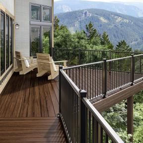 Deckorators ALX Railing in Black and Heritage Riverhouse decking