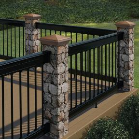 Deckorators ALX Classic Railing in Black with Fieldstone Postcovers and Copper Postcover Caps
