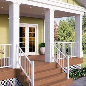 Deckorators ALX Classic railing and Estate balusters in textured white, Vista Sandalwood decking with white Vault fascia and white Classic Diamond lattice