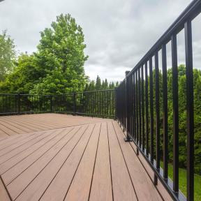 Deckorators ALX Classic railing in black paired with Vault Mesquite decking built by Certified Pro's Ben and Katcina Smith from Creative Hand & More
