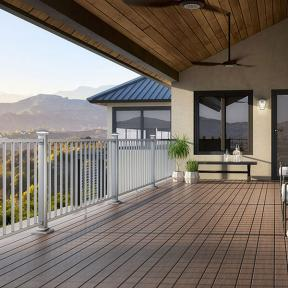 Deckorators ALX Contemporary Aluminum Railing with Vista Ironwood decking