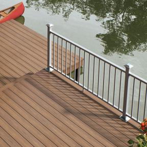 Deckorators ALX Contemporary Aluminum Railing with Vault Mesquite Decking