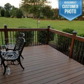 Deckorators Face-Mount Aluminum Balusters and Classy Cap Imperial Solar Post Caps with Wood railings