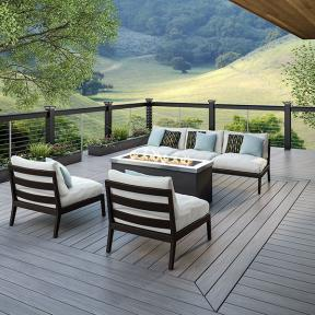 Open your space up to the backyard with Deckorators Vault Deck Boards in Dusk.