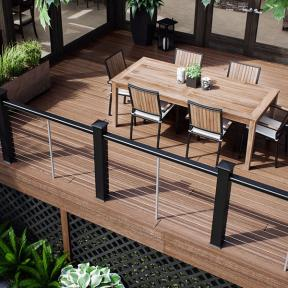 Make your railing the star of the show with low-key Deckorators Vault decking in Mesquite.