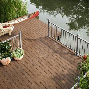 Blend into nature with the organic look of Deckorators Vault decking in Mesquite.