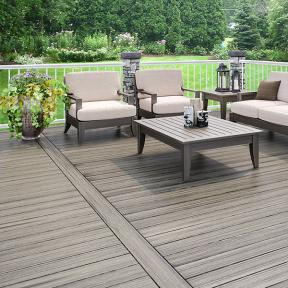 Create your own deck pattern and design by laying out your Deckorators Vista decking to fit your space; shown here in Driftwood.