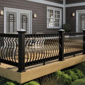 Let your gorgeous Deckorators ALX Pro railing shine with Deckorators Vista decking in Sandalwood.