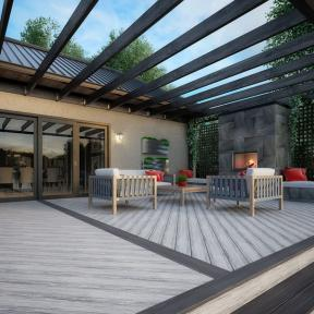 Create a unique outdoor space with Deckorators Voyage Deck Boards in Tundra and Sierra.
