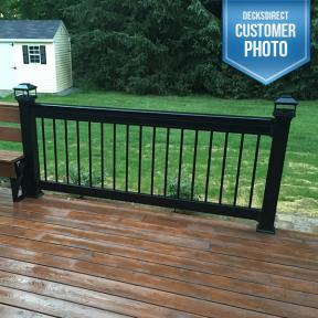 Deckorators ALX Pro Aluminum Deck Railing in Black with Round Aluminum Balusters with Deckorators Solar Post Caps in Black