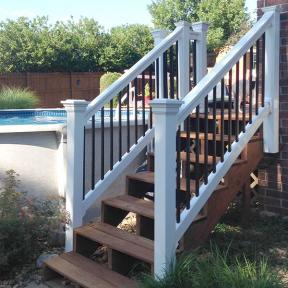 Durables Vinyl Railing System The Bradford Stair Rail. Features Durables New England Post Cap..