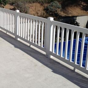 Durables Vinyl Railing System The Manchester Rail. Features Durables Foot Block. Also Features Durables External Post Cap