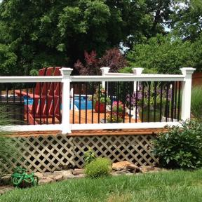 Durables Vinyl Railing System The Bradford Level Rail. Features Durables New England Post Cap.