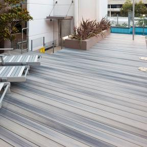 Create a comfortable, open space with the inviting look of DuraLife Siesta decking in Garapa Gray.