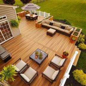 Give your outdoor project a finished look with DuraLife Siesta Grooved Edge Deck and Fascia Boards, shown in Golden Teak.