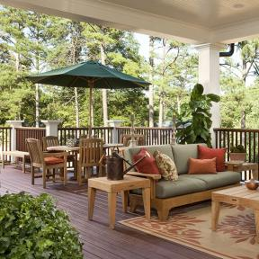Gain a gorgeous outdoor living room with spill-proof DuraLife MVP decking in Mahogany.