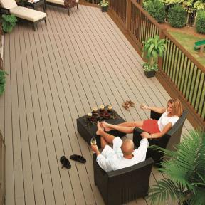 Keep your outdoor space simple with Pebble colored DuraLife Siesta Grooved Edge decking.