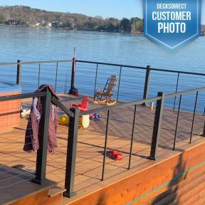 The aftermath of a day enjoyed on the lake. DuraLife Composite Decking and Prestige Cable Railing Systems make the perfect pair.