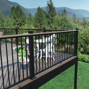 Fortress AL13 Home railing in Textured Black with Proud Posts and Drink Rail