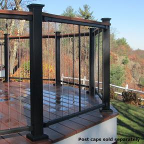Create a unified look by fastening a coordinating deck board atop your Fortress Vertical Cable Railing system.