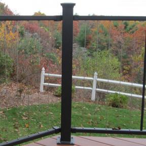 The thick, sturdy post of the Fortress Vertical Cable Railing system creates a strong foundation.