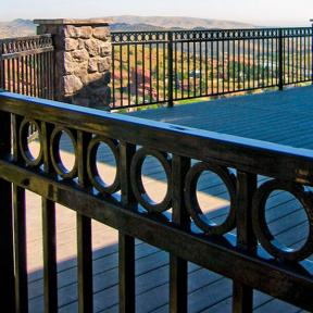 Fortress FE26 Steel Railing Panels in Gloss Black with Ring Top Accent Panels