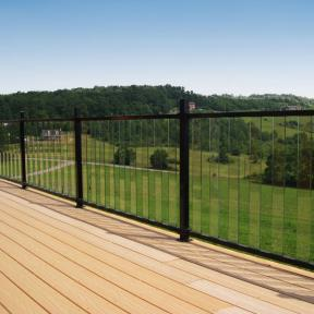 Fortress Pure View Glass Railing system in Gloss Black with Glass Balusters in Clear.