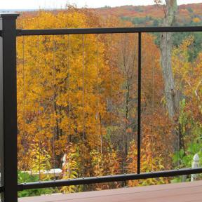 The vertical lines of the Fortress Vertical Cable Railing system highlight growing trees in your yard beyond.