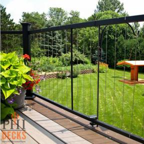 A gorgeous way to keep your backyard view of the kids open, the Fortress Vertical Cable Railing system keeps vistas clear.