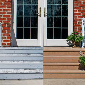 Renovate and transform your tired front stoop with a beautiful Genovations decking makeover.