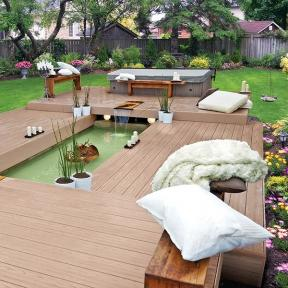 Build and add new levels and layers to your backyard oasis with long-lasting Genovations PVC deck boards.