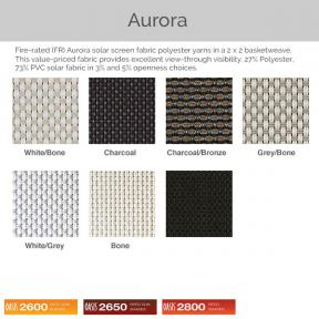 Oasis 2600, 2650, and 2800 - Aurora Fabric Colors