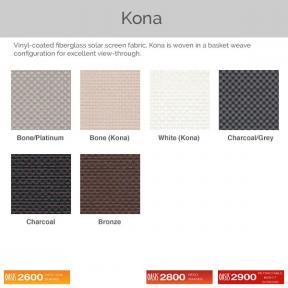 Oasis 2600, 2800, and 2900 - Kona Fabric Colors