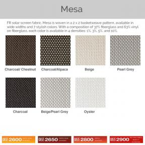 Oasis 2600, 2650, 2800, and 2900 - Mesa Fabric Colors